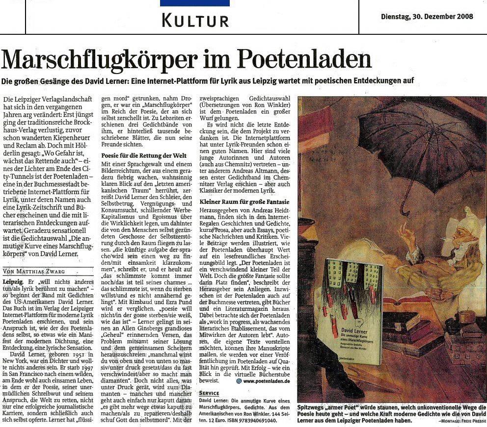 Freie Presse Chemnitzer Zeitung | Matthias Zwarg | 30. Dezember 2008